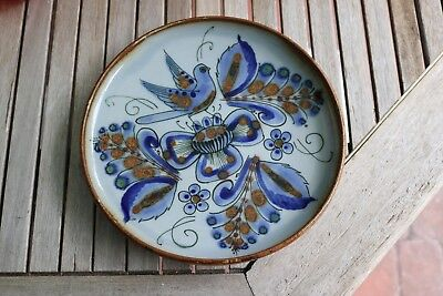 "Round 10 1/ 8 "" Plate Blue Bird Mexico Tonala Flower Ken Edwards KE & ER"