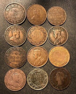 Old Canada Coin Lot - 1882-1917 - 12 Large Cents - Rare Coins - Lot #712