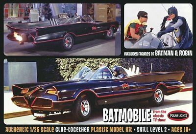 1966 Batmobile w/ Batman and Robin figures 1/25 scale skill 2 Polar Lights#920