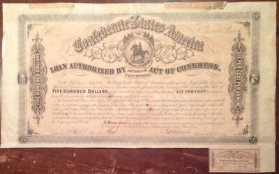 1864 Civil War,  $500 Confederate Bond, W/1 $15 Coupon Attached, #5876 *Damaged*