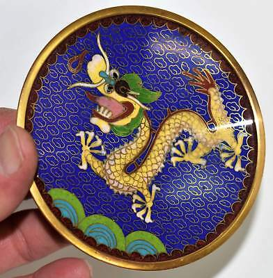 "Small 4"" Antique Chinese Cloisonne Plate with Dragon"