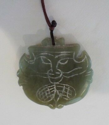 Chinese Carved Jade / Jadeite Stone Medallion Pendant, Mask  (#5)