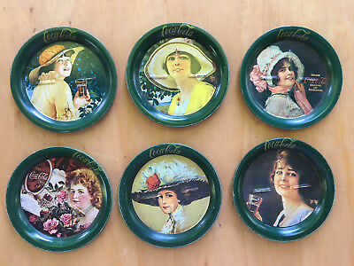 Coca Cola Tin Victorian Lady Coasters Set Of 6 Vintage Antique BEAUTIFUL