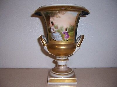 1800s ANTIQUE HAND-PAINTED PORCELAIN URN w/ MOTHER & CHILD