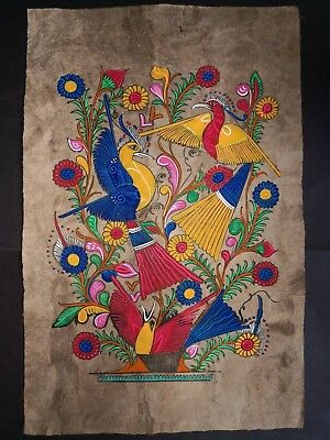 Mexican Native Painting Latin Ethnic Folk Art Craft Home Decor Flowers And Birds