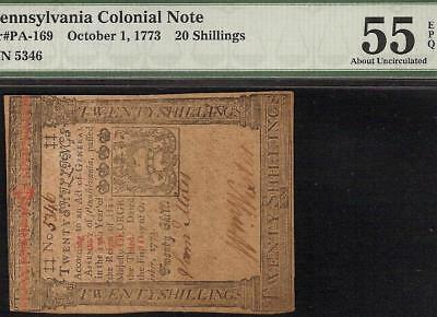 1773 Pennsylvania Colonial Currency Note Paper Money Pa-169 Pmg 55 Epq