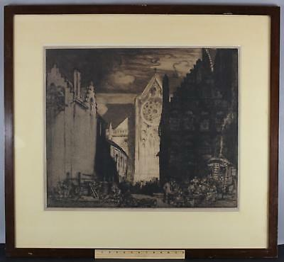 Large Antique SIR FRANK BRANGWYN Drypoint Etching Architectural Cathedral Street
