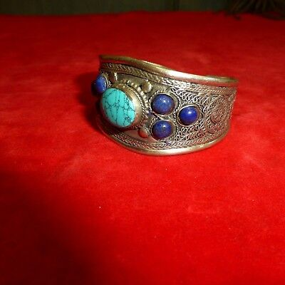 Rare Ca 1900 Native American Navajo Indian Coin Silver Turquoise Stone Bracelet