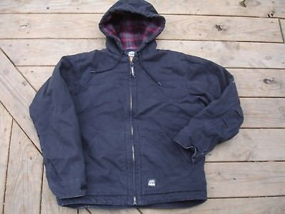 Men's Berne Black Duck Canvas Hooded Zip Front Jacket Quilted lining Size Large