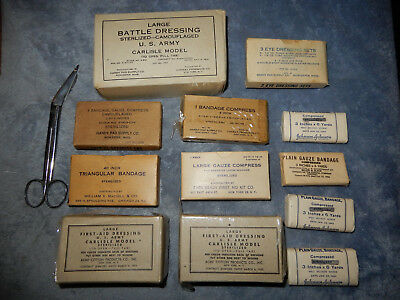Original Wwii Lot Medical Items, Bandages, Medic, Medical Supplies