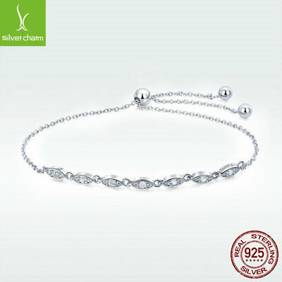 European 925 Sterling Silver Charm Bracelet with White CZ Sizable Jewelry Chain