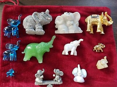 Lot Of Different Mini Elephant Styles And Material  Figurine Statues