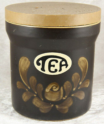 Denby Bakewell pattern  dark brown canister storage jar 4 inches tall tea