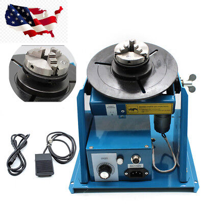 "MIni Rotary Welding Positioner Turntable 2.5"" 3 Jaw Lathe Chuck 2-10r/min 110V"