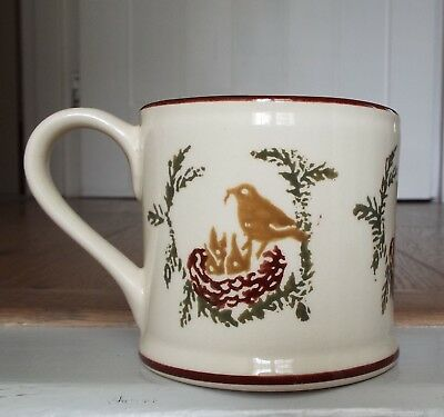 Brixton Pottery Bird & Hatchlings on Nest Spongeware Mug 250ml