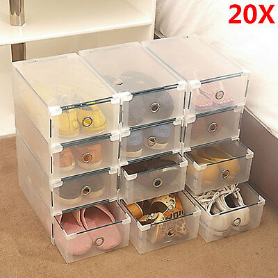 2018 New 20pcs Shoe Storage Cases Stackable Foldable Clear Drawer Boxes Wardrobe