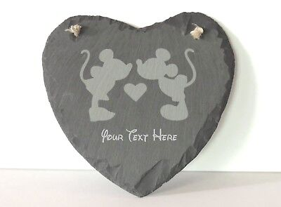 Personalized Mickey& Minnie Laser Engraved Slate Heart  Wedding Anniversary Gift
