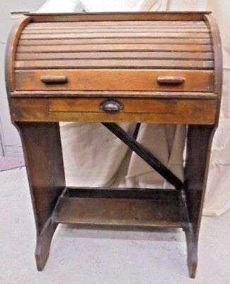 Solid Oak Dark Wood Children's Writing Desk Roll-Top Bureau / Secretaire - S87