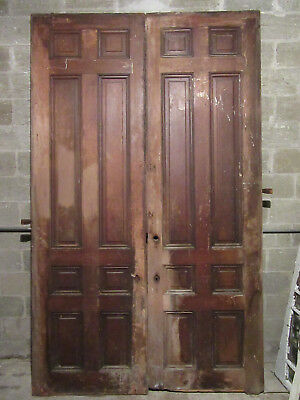 ~ Massive Antique Walnut Pocket Doors ~ 68 X 113 ~ Architectural Salvage