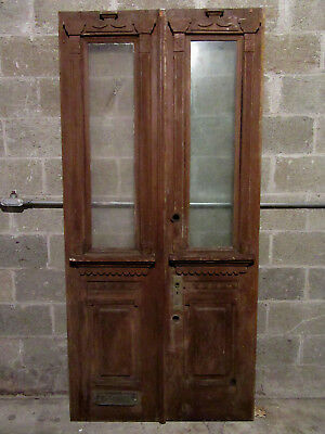 ~ Antique Carved Double Entrance French Doors  ~ 40 X 84 ~ Architectural Salvage