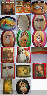 Huge Set of 19 Vintage Drink Coke Coca Cola Trays FREE SHIPPING