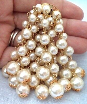 "Stunning Vintage Estate Faux Pearl Dangle Gold Tone 3"" Brooch!!! G6859A"