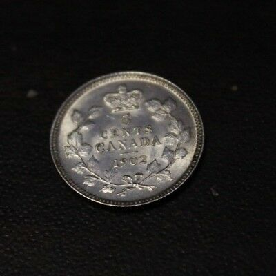 Canada 1902 5 cents Silver about UNC