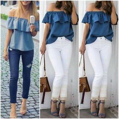 e854d874941 US Women s Sexy Summer Off Shoulder Tops Casual Party Shirt Cotton Denim  Blouse