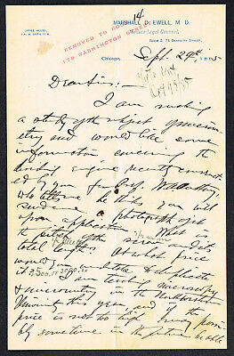 Marshall D Ewell M.D./Medical Legal Witness/Chicago-Kent Law College/1885 Letter