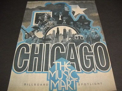 CHICAGO is the Music Mart collage style Vintage PROMO POSTER AD mint condition