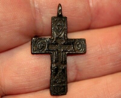 Small Old Medieval Middle Ages Bronze Cross Artifact From Latvia Excavation #6