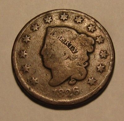 1826 Coronet Head Large Cent Penny - Circulated Condition - 84SA