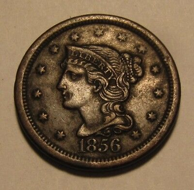 1856 Braided Hair Large Cent Penny - AU Condition - 91SA