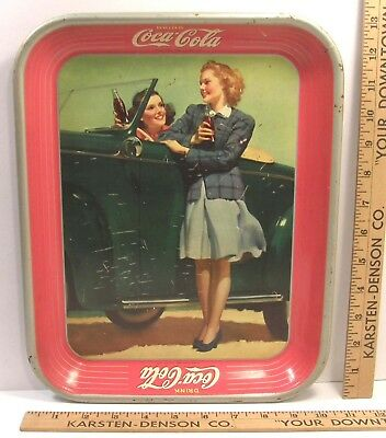 Vintage 1942 Coke Coca-Cola Advertising Serving Tin Tray Two Girls With Car