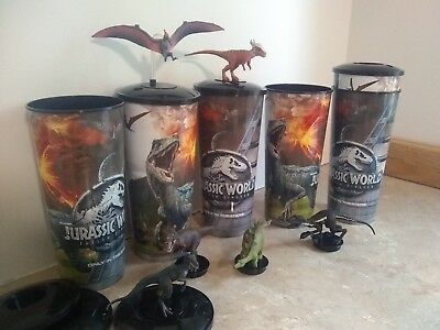 jurassic World Fallen Kingdom Movie Theater Cups and Toppers - set of 6