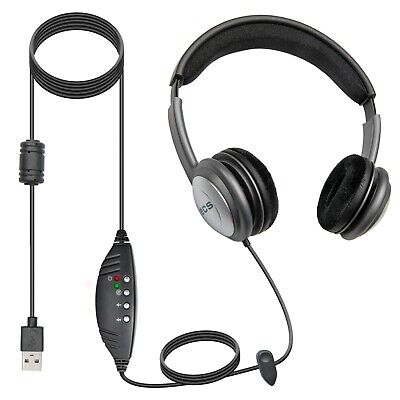 ECS OHUSB WordSlinger Deluxe Overhead USB Transcription Headset - New
