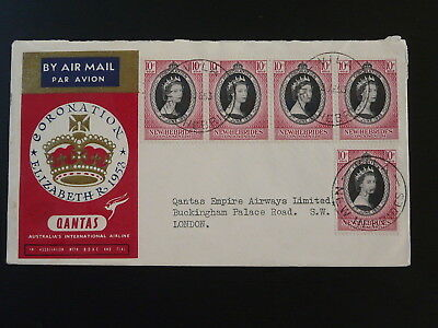 Queen Elizabeth coronation 1953 Qantas flight cover New Hebrides 82876