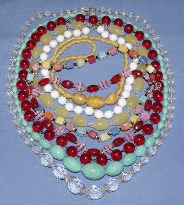 Wonderful Collection Of Vintage Glass Bead Necklaces - Art Deco / 50's Necklace