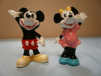 Vintage Mickey And Minnie Mouse Ceramic Figurines Walt Disney Productions Japan