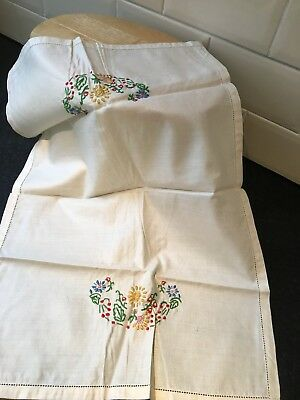 VINTAGE 1930's EMBROIDERED LINEN CHAIR ANTIMACASSAR COVER
