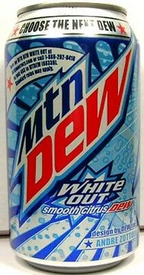 FULL 12oz 355ml Can Pepsi Mountain Dew White Out Limited Edition USA (2009)