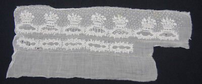 Antique remnant Lace Embroidery Very fine White work Unusual piece (566)
