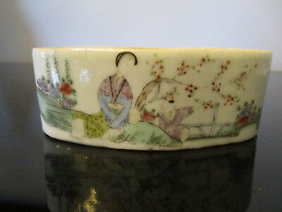 Old Antique Chinese Famille Rose Hand Painted Porcelain Pot Planter Bowl Signed!