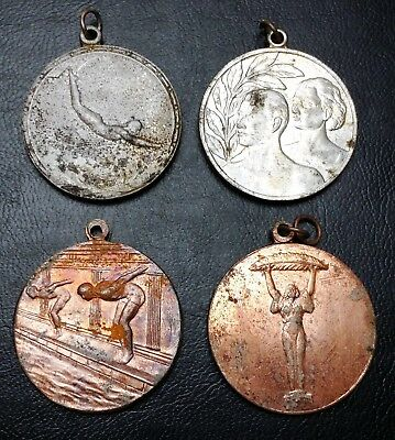 Antique 1950s Lot of 4 Hungary Diving and Sports Medals