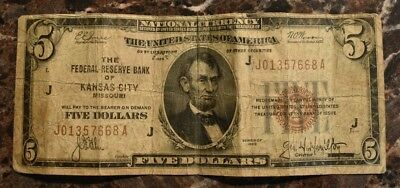1929 $5 National Currency Kansas City Missouri Circulated Good Cond. US Currency