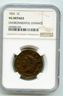 1832 Coronet Head Cent (VG Details) NGC.  Environmental damage