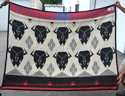 Boucher Boys & The Indian Native American 100% Wool Blanket Twin Size VG