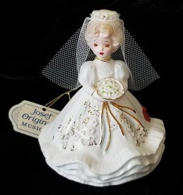 Vintage Josef Originals Bride Figurine Music Box Here Comes the Bride