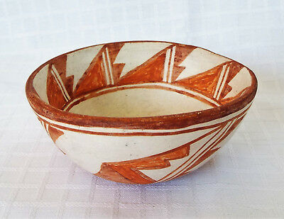 Vintage Pueblo Red On White Pottery Bowl Signed