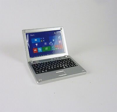 Dollhouse Miniature Silver Laptop Computer with Windows 10 Screen, G7387
